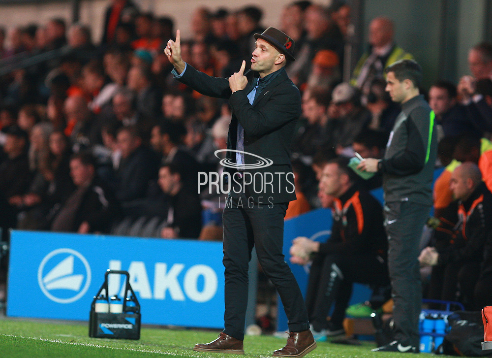 Exeter City Manager Paul Tisdale issues instructions from the touchline during the Sky Bet League 2 match between Barnet and Exeter City at The Hive Stadium, London, England on 31 October 2015. Photo by Bennett Dean.