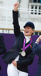 Mary King, GB Equestrian Team Olympic Medal ceremony Greenwich on Tuesday 31st July 2012. Photo by i-Images.