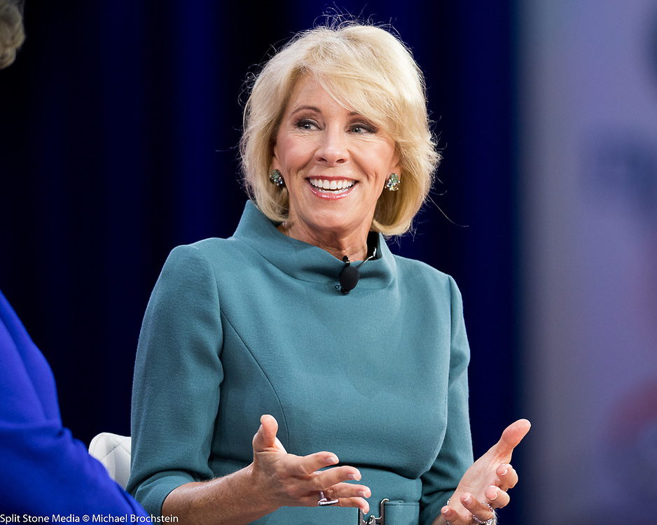 Betsy DeVos, United States Secretary of Education, at the Conservative Political Action Conference (CPAC) sponsored by the American Conservative Union held at the Gaylord National Resort & Convention Center in Oxon Hill, MD on February 22, 2018