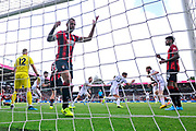 Goal - Billy Sharp (10) of Sheffield United celebrates scoring the equalising goal to make the score 1-1 during the Premier League match between Bournemouth and Sheffield United at the Vitality Stadium, Bournemouth, England on 10 August 2019.