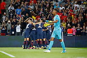 Adrien Rabiot (psg) scored a goal and celebrated it with Neymar da Silva Santos Junior - Neymar Jr (PSG), Angel Di Maria (psg), Edinson Roberto Paulo Cavani Gomez (psg) (El Matador) (El Botija) (Florestan), Thiago Silva (PSG), Thiago Motta Santon Olivares (psg), Presnel Kimpembe (PSG), Layvin Kurzawa (psg), Daniel Alves da Silva (PSG), Alban LAFONT (Toulouse Football Club) during the French championship L1 football match between Paris Saint-Germain (PSG) and Toulouse Football Club, on August 20, 2017, at Parc des Princes, in Paris, France - Photo Stephane Allaman / ProSportsImages / DPPI