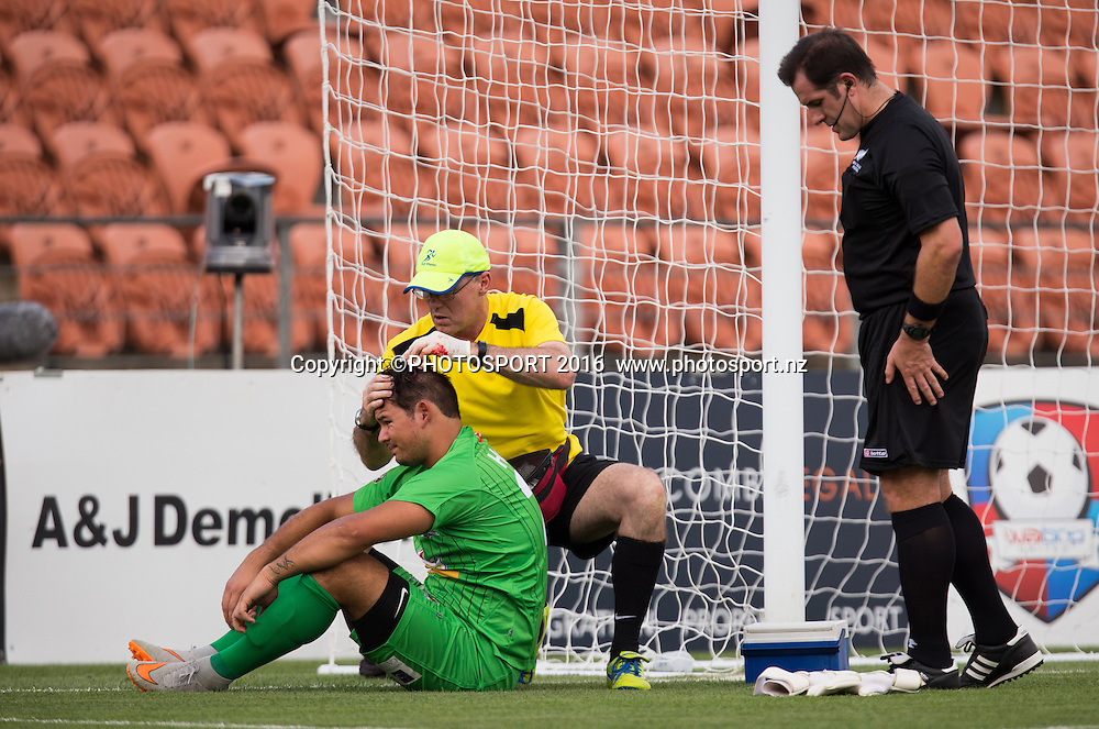 Canterbury United's Coey Turipa gets medical attention during the ASB Premiership - Round 11 football match at FMG Stadium, Hamilton, Sunday 7 February 2016. Copyright Photo: Stephen Barker / www.photosport.nz