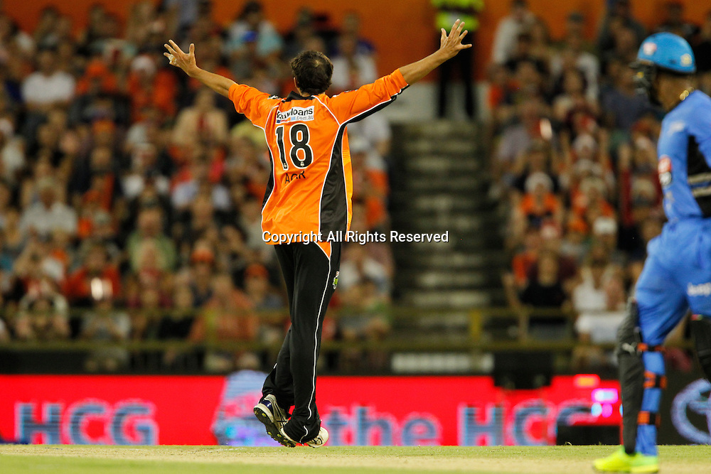 23.12.2016. WACA Ground, Perth, Australia. BBL Cricket League. Perth Scorchers versus Adelaide Strikers. Ashton Agar appeals for L.B.W. against Chris Jordan.