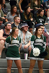 20 February 2016:  A very warm day in mid February brings in fans dressed for summer during an NCAA men's division 3 CCIW basketball game between the Elmhurst Bluejays and the Illinois Wesleyan Titans in Shirk Center, Bloomington IL