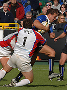 20,05/06 Powergen Cup Bath Rugby vs Bristol Rugby,  Ollie barkley is tackleed by Mark Irish and Wayne Thompson. Bath, ENGLAND, 01.10.2005   © Peter Spurrier/Intersport Images - email images@intersport-images..