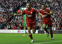 Photo: Paul Thomas.<br /> Liverpool v Maccabi Haifa. UEFA Champions League Qualifier. 09/08/2006.<br /> <br /> Craig Bellamy celebrates his goal with  Steven Gerrard (R).