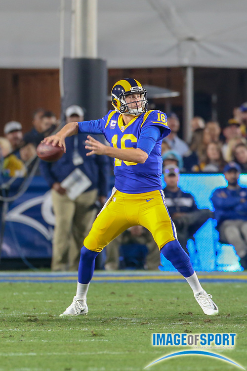 Jan 12, 2019; Los Angeles, CA, USA;  Los Angeles Rams quarterback Jared Goff (16) drops back to throw a pass against the Dallas Cowboys during an NFL divisional playoff game at the Los Angeles Coliseum. The Rams beat the Cowboys 30-22. (Kim Hukari/Image of Sport)