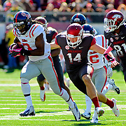 Mississippi defensive back Charles Sawyer (3) returns a blocked punt during an NCAA college football game in Little Rock, Ark., Saturday, Oct. 27, 2012. (Photo/Thomas Graning)