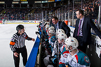 KELOWNA, CANADA - JANUARY 9:  Kelowna Rockets' head coach Adam Foote stands on the bench and speaks to referee Troy Paterson against the Everett Silvertips on January 9, 2019 at Prospera Place in Kelowna, British Columbia, Canada.  (Photo by Marissa Baecker/Shoot the Breeze)