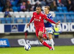 MOLDE, NORWAY - Wednesday, September 7, 2011: Liverpool's Toni Brito De Silva in action against Molde's Ivar Erlien Furu during the second NextGen Series Group 2 match at Aker Stadion. (Photo by Vegard Grott/Propaganda)