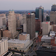 Downtown Kansas City, Missouri skyline aerial view.