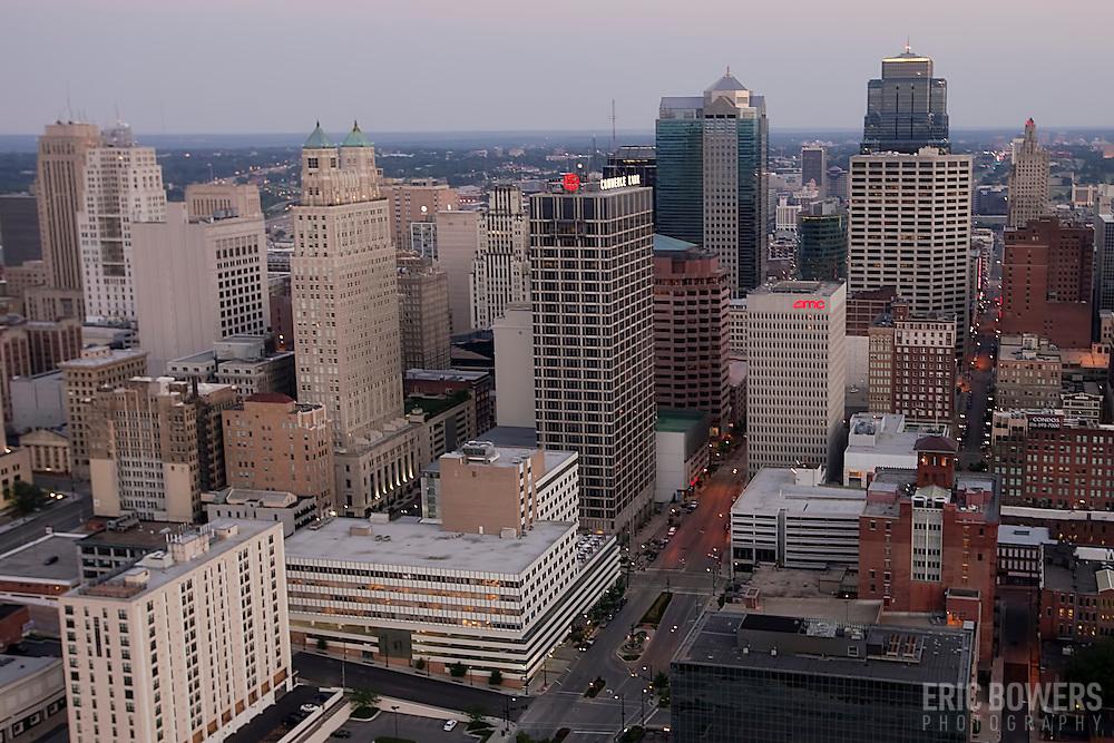 Downtown Kansas City, Missouri skyline aerial view.