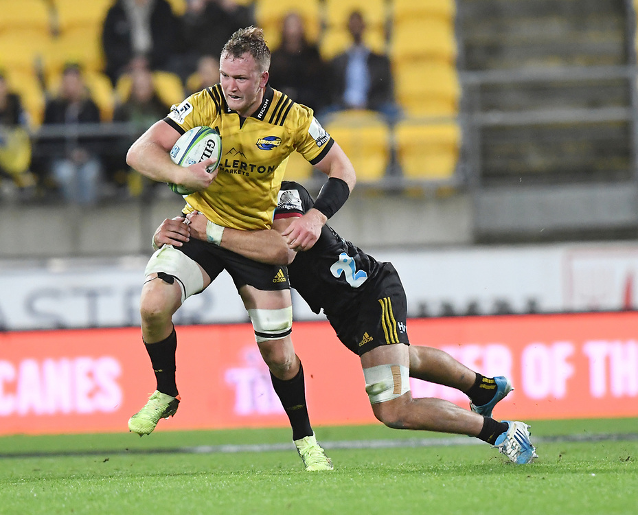 Hurricanes Gareth Evans against the Chiefs in the Super Rugby match at Westpac Stadium, Napier, New Zealand, Friday, April 13, 2018. Credit:SNPA / Ross Setford