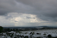 View of Dublin from the Wicklow hills in the snow