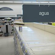 OCTOBER 18 - LARES, PUERTO RICO - <br /> Water shelves empty in a Walgreens store in Lares almost one month after the destructive path of hurricane Maria.<br /> (Photo by Angel Valentin for NPR)