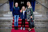 3-2-2018 AMSTERDAM - Princess Mabel with her daughters Luana and Zaria  arrives at the Royal Palace on Dam Square for the birthday reception of Princess Beatrix. The princess celebrates her 80th birthday in private. ROBIN UTRECHT