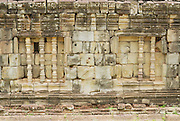SIEM REAP, CAMBODIA - AUGUST 10, 2008: Exterior of the wall of the Bakong temple ruin in Siem Reap, Cambodia.