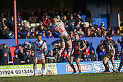 Tom Johnstone (2) of Wakefield Trinity catches the ball during the Betfred Super League match between Wakefield Trinity Wildcats and Warrington Wolves at Belle Vue, Wakefield, United Kingdom on 16 February 2020.