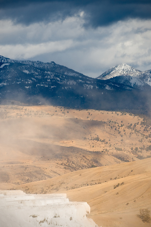 A travertine terrace overlooking Yellowstone National park in November.