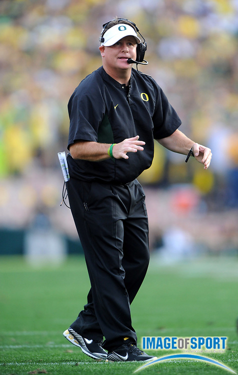 Jan 1, 2010; Pasadena, CA, USA; Oregon Ducks coach Chip Kelly watches on the sidelines in the second quarter of the 2010 Rose Bowl against the Ohio State Buckeyes at the Rose Bowl.