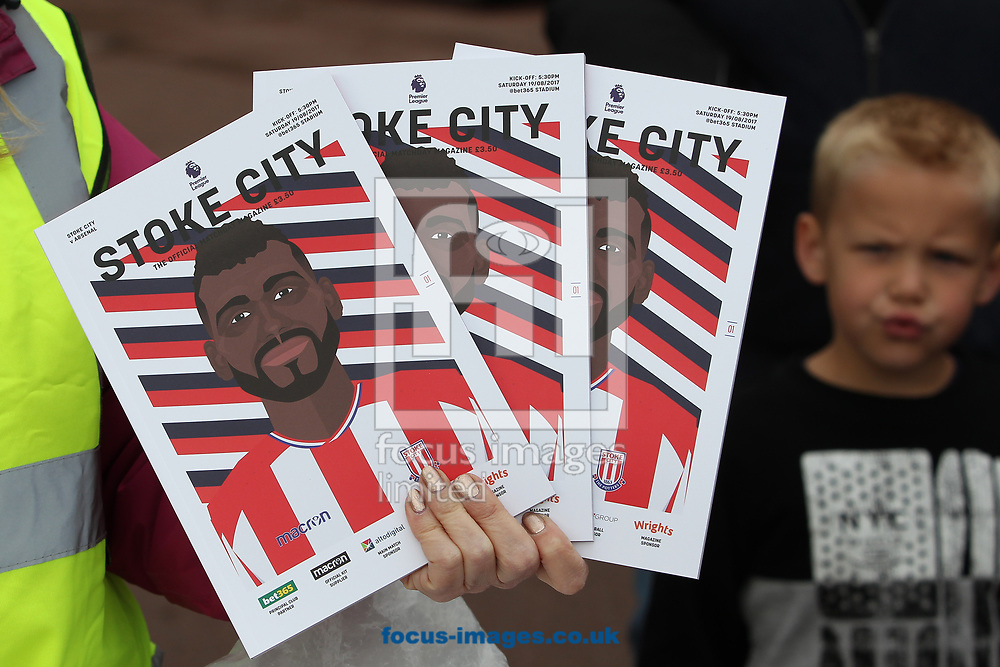 Programmes for sale outside the bet365 Stadium, prior to the Premier League match between Stoke City and Arsenal, Stoke-on-Trent.<br /> Picture by Michael Sedgwick/Focus Images Ltd +44 7900 363072<br /> 19/08/2017
