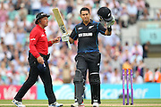 New Zealand Ross Taylor celebrated his 100  during the Royal London One Day International match between England and New Zealand at the Oval, London, United Kingdom on 12 June 2015. Photo by Phil Duncan.