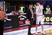 Leka Spiro Ancellotti Andrea<br /> Victoria Libertas Pesaro - Dolomiti Energia Trentino<br /> Lega Basket Serie A 2017/2018<br /> Pesaro, 25/03/2018<br /> Foto A.Giberti / Ciamillo - Castoria
