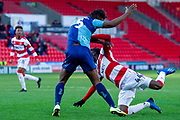 Devante Cole of Doncaster Rovers hits the deck in the penalty area no foul declared during the EFL Sky Bet League 1 match between Doncaster Rovers and Wycombe Wanderers at the Keepmoat Stadium, Doncaster, England on 29 February 2020.
