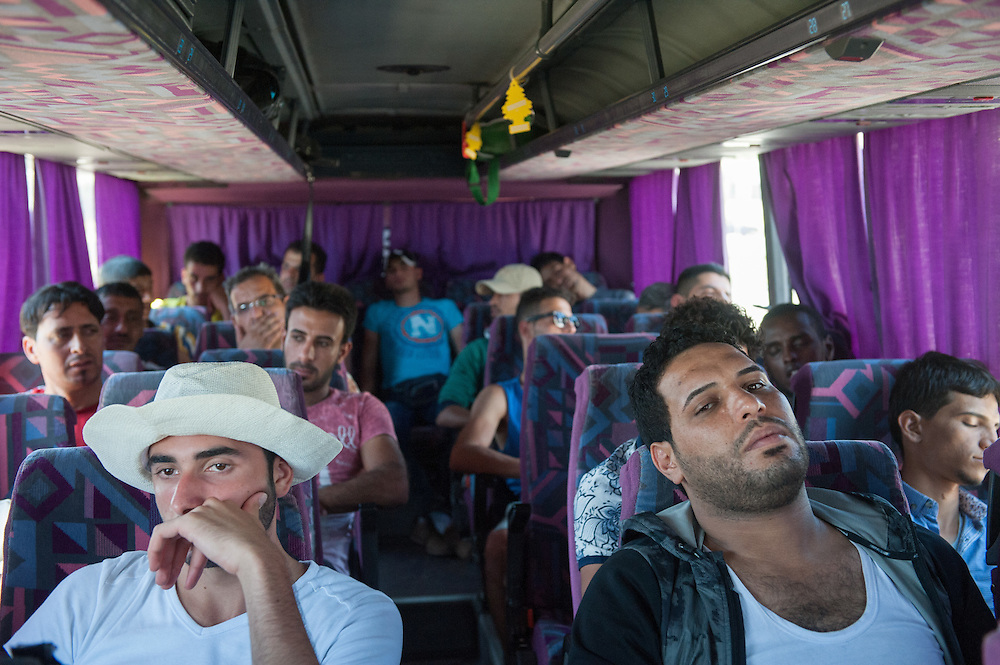Iraqi immigrants on the MSF bus that transported them from Molyvos to Mytiline port.