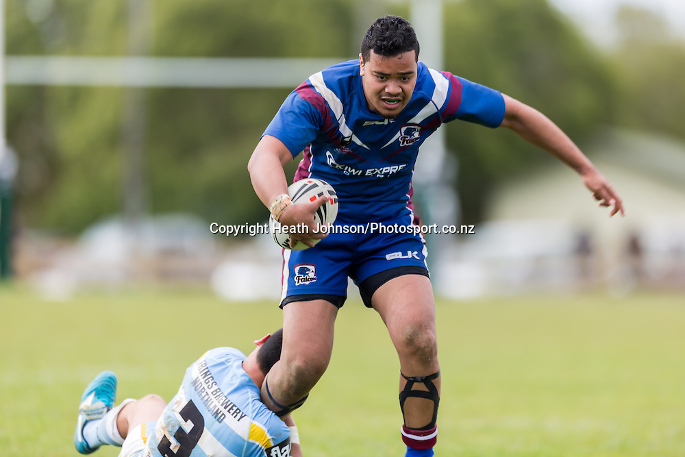 Malakai Houma tries to break Te Tuhi Tipene's tackle during the National Provincial Rugby League match between Northern and Akarana at Hikurangi. Sunday, 28 September 2014. Photo Heath Johnson/Photosport.co.nz