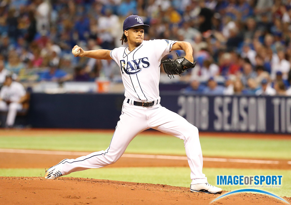 Tampa Bay Rays pitcher Chris Archer (22) throws a pitch against the Chicago Cubs during a MLB baseball game in St. Petersburg, FLA. on Tuesday, September 19, 2017.  Cubs beat the Rays 2-1. (Steve Jacobson/Image of Sport)