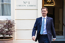 © Licensed to London News Pictures. 01/07/2019. London, UK. Foreign Secretary Jeremy Hunt, who is running against Boris Johnson to become the next Leader of the Conservative Party and prime minister, leaves his London home. Photo credit: Rob Pinney/LNP