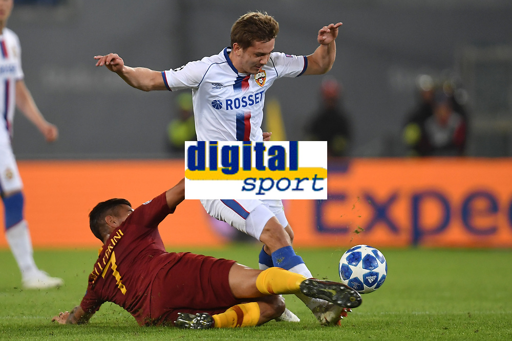 Lorenzo Pellegrini of AS Roma and Ivan Oblyakov of CSKA compete for the ball during the Uefa Champions League 2018/2019 Group G football match between AS Roma and CSKA Moscow at Olimpico stadium Allianz Stadium, Rome, October, 23, 2018 <br />  Foto Andrea Staccioli / Insidefoto
