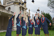 The Samoa players throw their caps in the air during the Samoa Welcome Ceremony at Brighton Dome, Brighton & Hove, United Kingdom on 11 September 2015. Photo by Phil Duncan.