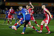 AFC Wimbledon midfielder Max Sanders (23) trying to cross the ball into the box during the EFL Sky Bet League 1 match between AFC Wimbledon and Gillingham at the Cherry Red Records Stadium, Kingston, England on 23 November 2019.