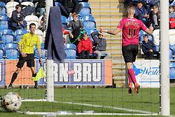 Marcus Maddison of Peterborough United celebrates scoring his goal - Mandatory by-line: Joe Dent/JMP - 16/04/2016 - FOOTBALL - Weston Homes Community Stadium - Colchester, England - Colchester United v Peterborough United - Sky Bet League One