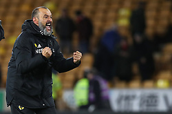Wolverhampton Wanderers manager Nuno Espirito Santo celebrats after the final whistle during the FA Cup quarter final match at Molineux, Wolverhampton.