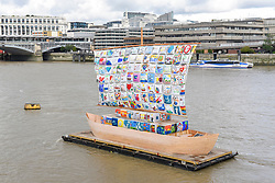 "© Licensed to London News Pictures. 04/09/2019. LONDON, UK. Launch of ""The Ship of Tolerance"" at Tate Modern, Bankside.  The floating installation by Emilia Kabakov (of Russian conceptual artist duo Ilya and Emilia Kabakov) forms part of Totally Thames Festival and will be moored 4 September to 31 October.  The goal of the artwork is to educate and connect the youth of the world through the language of art.  Photo credit: Stephen Chung/LNP"