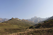 View of the Amphitheatre from Thendele camp in the Drakensberg mountains of South Africa. Known as uKhahlamba in Zulu which means barrier of the spears. The mountains form a barrier between South Africa and Lesotho and are a world heritage site. The largest proportion of the Drakensberg area falls in the province of KwaZulu-Natal.