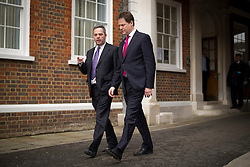 © London News Pictures. 22/03/2013 . London, UK.   Deputy Prime Minister Nick Clegg (right)  and Professor Stephen Lee (left) of Centre Forum leaving The Honourable Society of Gray's Inn in London after Nick Clegg delivered a speech on immigrationon on Friday, March 22, 2013. Photo credit : Ben Cawthra/LNP