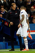 Coach Thomas Tuchel and Mauro Icardi of PSG during the UEFA Champions League, Group A football match between Paris Saint-Germain and Club Brugge on November 6, 2019 at Parc des Princes stadium in Paris, France - Photo Mehdi Taamallah / ProSportsImages / DPPI