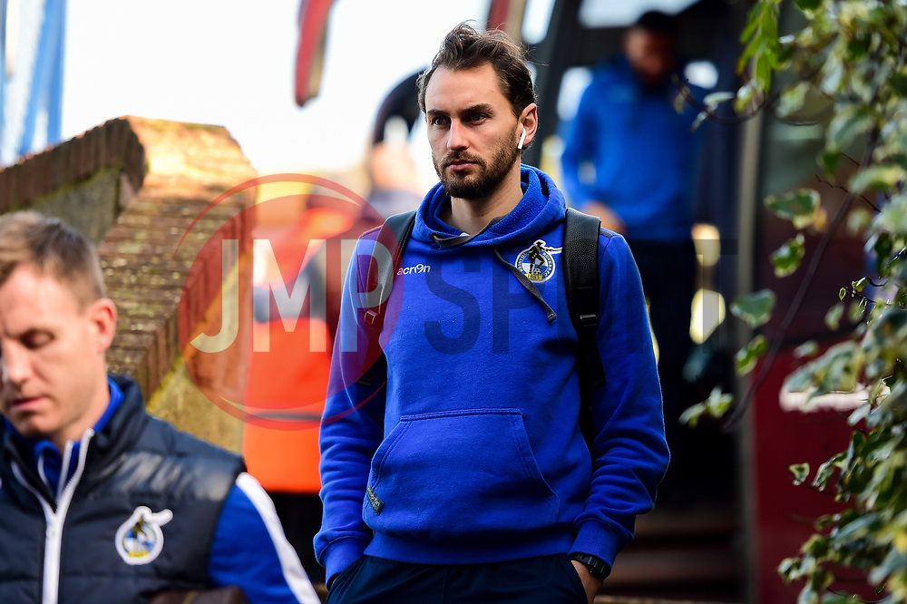Edward Upson of Bristol Rovers arrives at Roots Hall prior to kick off  - Mandatory by-line: Ryan Hiscott/JMP - 02/02/2019 - FOOTBALL - Roots Hall - Southend-on-Sea, England - Southend United v Bristol Rovers - Sky Bet League One