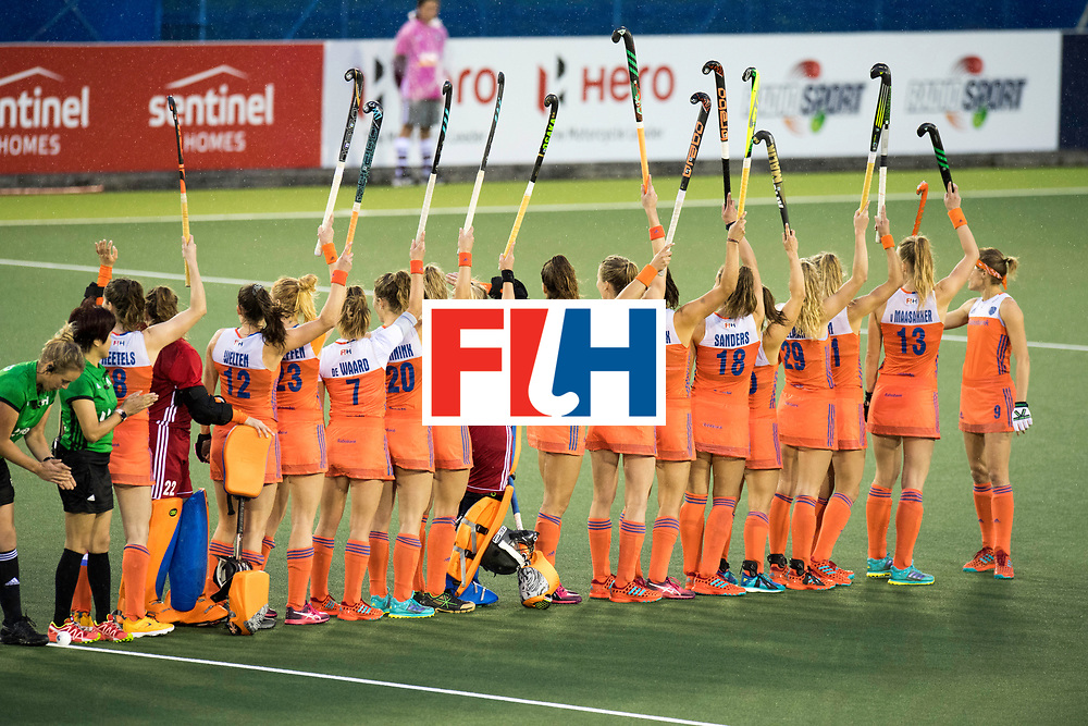 AUCKLAND - Sentinel Hockey World League final women<br /> Match id 10296<br /> 06 Usa v Netherlands<br /> Foto: Line up Netherlands.<br /> WORLDSPORTPICS COPYRIGHT FRANK UIJLENBROEK
