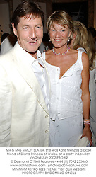 MR & MRS SIMON SLATER, she was Kate Menzies a close friend of Diana Princess of Wales, at a party in London on 2nd July 2002.PBO 69