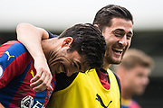 Joel Ward (2) of Crystal Palace, James Tomkins (5) of Crystal Palace after  the Premier League match between Fulham and Crystal Palace at Craven Cottage, London, England on 11 August 2018.