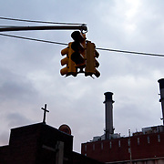 Traffic light out near the Con Ed substation that exploded and cut off power to hundreds of thousands of people living below 36th Street.