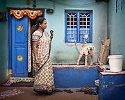 Woman and Dog - Bangalore, India