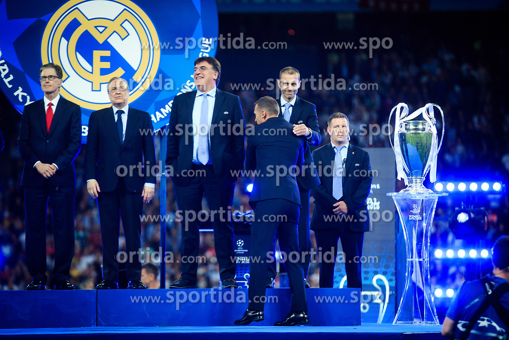 Liverpool owner John W Henry, President Florentino Perez of Real Madrid, Theodore Theodoridis, General Secretary of UEFA, UEFA's president Aleksander Ceferin and Andriy Shevchenko, Ukraine footballer at UEFA Champions League Trophy Cermony after the UEFA Champions League Final between Real Madrid and Liverpool at NSC Olimpiyskiy Stadium on May 26, 2018 in Kiev, Ukraine. Photo by Sandi Fiser / Sportida