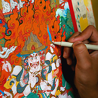Detail of a religious Thangka Painting in the painting studio at the Norbulingka Institute, dedicated to preserving Tibetan culture. Dharamsala, India. 7/25/05.