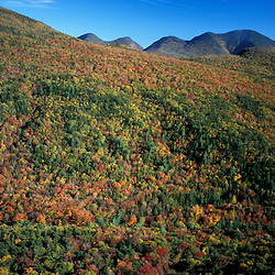 White Mountain N.F., NH. Pemigewasset Wilderness Area from near the site of the old Camp 22 logging camp.  Mt. Carrigain is highest peak in the distance.  Early fall.